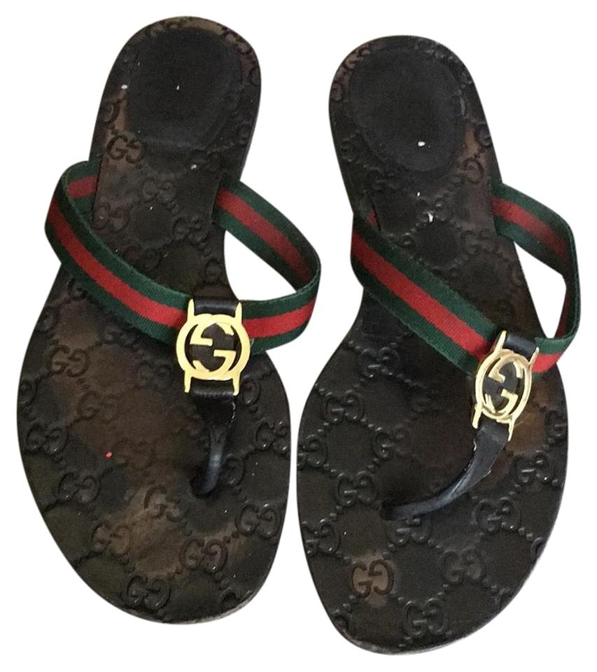 31582440c57c Gucci Black Gg Thong Style 270374 H9020 8476 Sandals Size US 10 ...