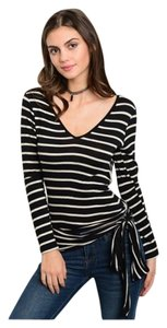 Tie Waist V-neck Long Sleeve Top Black and White