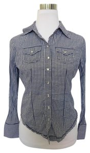 Fiorucci Plaid And Check Button Down Shirt Blue
