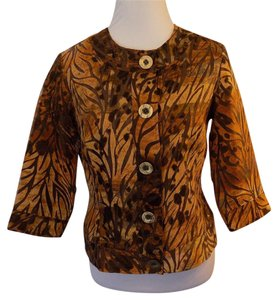 Coldwater Creek Career Office Jacket Print Brown Blazer