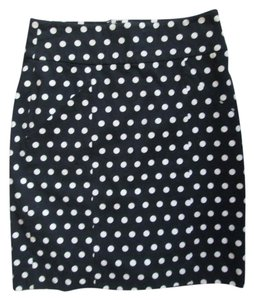 Banana Republic Polka Dot Stretchy A-line Career Work Skirt Navy & White