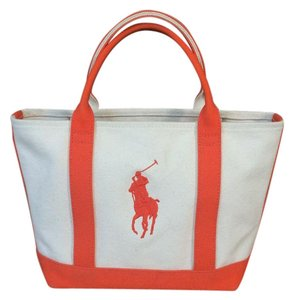 Ralph Lauren Tote in Off white with Orange accents