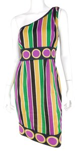 Catherine Malandrino Striped Embroidered Cotton Dress