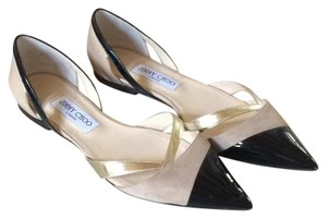 Jimmy Choo Black and Nude d' orsay Flats