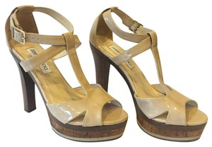 Jimmy Choo Platform Patent Leather Beige Sandals