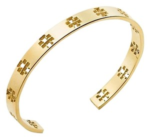 Tory Burch New Tory Burch Pierced T-Cuff Logo 16k Gold Plated Stackable Bracelet