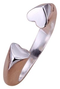 Fuego Fashion 925 Sterling Silver Plated Love Heart Gap Band Ring Jewelry US Size 8