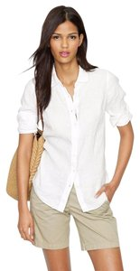 J.Crew New With Tags Linen Button Down Shirt White