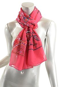 Etro ETRO Rose Red CHIFFON Sequin Shawl Scarf w/Sequins NWOT