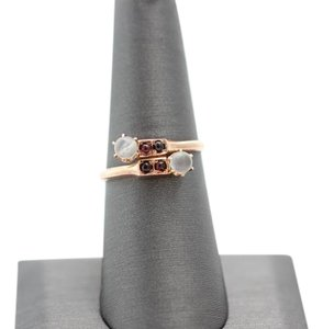 Bypass Vintage Moonstone and Ruby 14k Rose Gold Ring