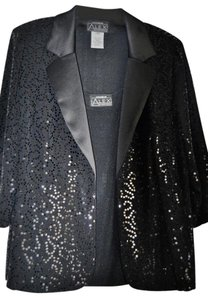 Alex Evenings Top Black Sequin