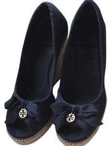 Tory Burch Peep-toe Black Wedges