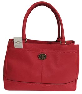 Coach Leather Satchel in Scarlet Red