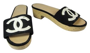 Chanel Black Cc Logo Cambon Sandals