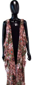 ivy jane Open Sleeveless Geometric Floral Kimono Sweater