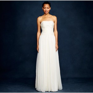 J.Crew Ivory Silk Chiffon Feminine Wedding Dress Size 4 (S)