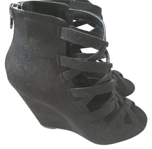 Shoemint Suede Crisscross Strap Black Wedges