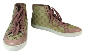Gucci Pink Leather Gg Logo Sneakers Athletic