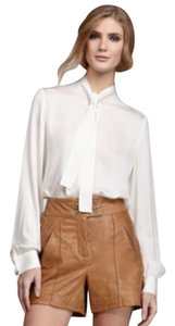 Rachel Zoe $595 100% Genuine Leather Runway Collection Dress Shorts Taupe