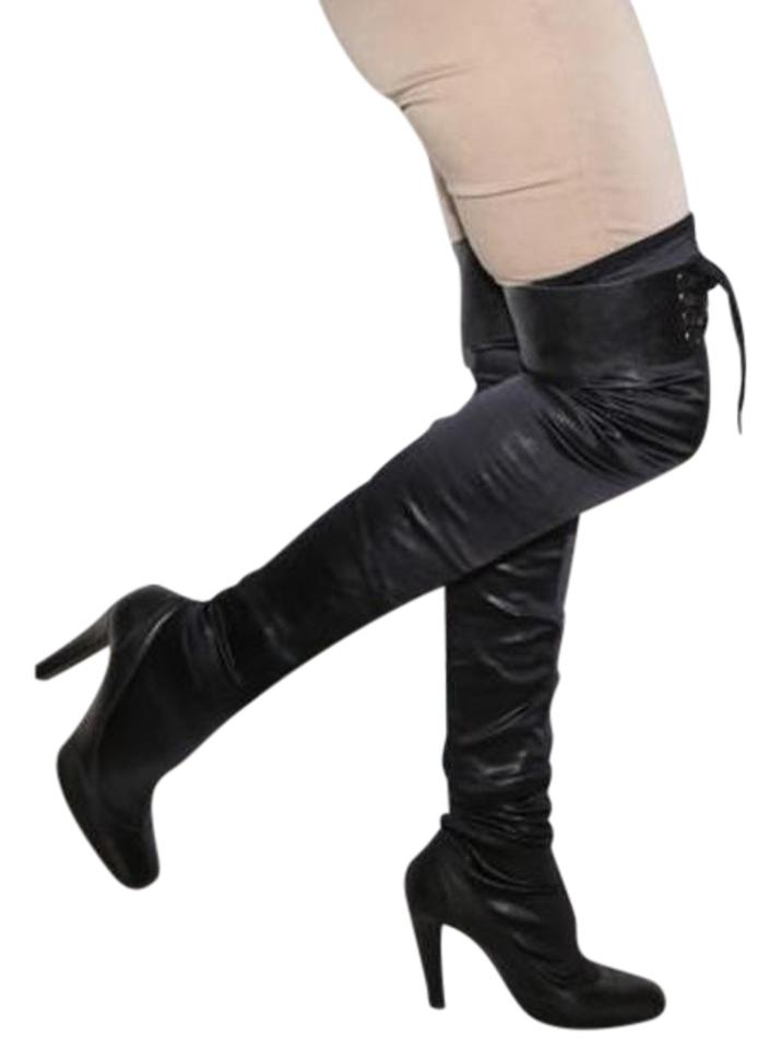 430a1d54b8f Stella McCartney Black Faux Leather Over The Knee Boots Booties Size ...