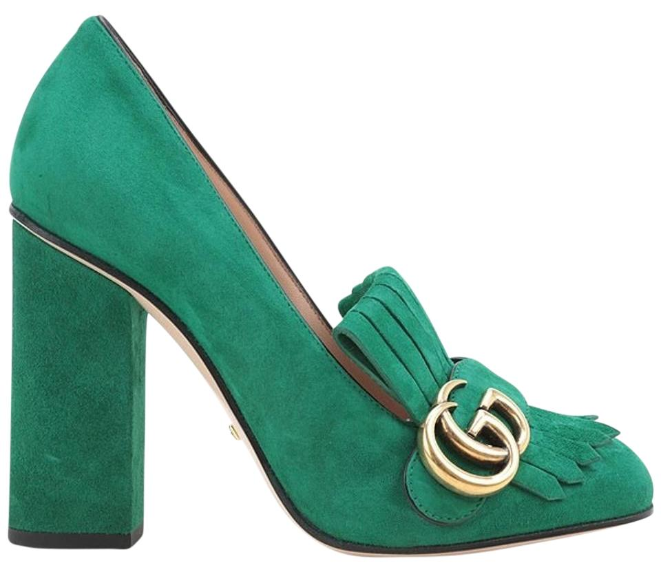 b827040c2ae2 Gucci Marmont Green Suede Fringe Buckle Pumps Size US 10 Narrow (Aa ...