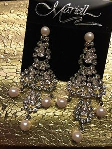 Mariell Never Worn-marielle Crystal And Pearl Earrings