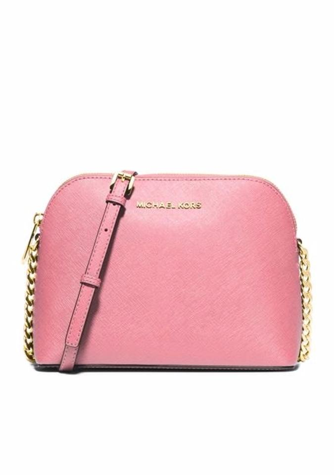 6f1d14398d88f9 Michael Kors Large Cindy Dome Misty Rose Saffiano Leather Cross Body ...