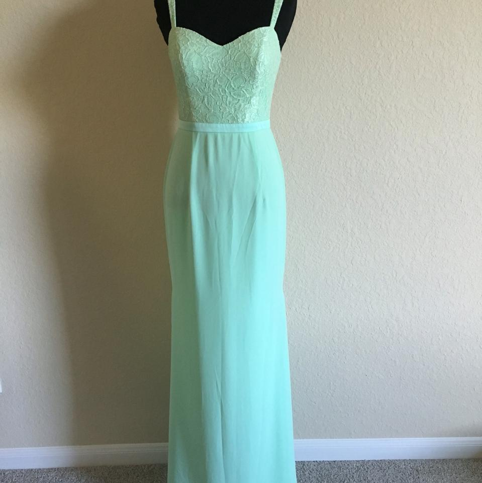 Light Green Lace Fabric A Line Formal Bridesmaid/Mob Dress Size 0 ...