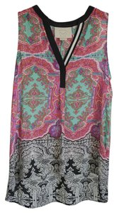 Anthropologie Top Multi turquoise/black/pink