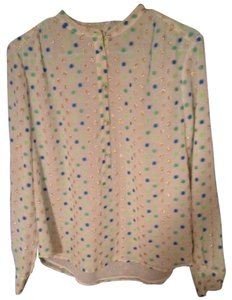 J.Crew Dressy Top White with gold, blue and green dots