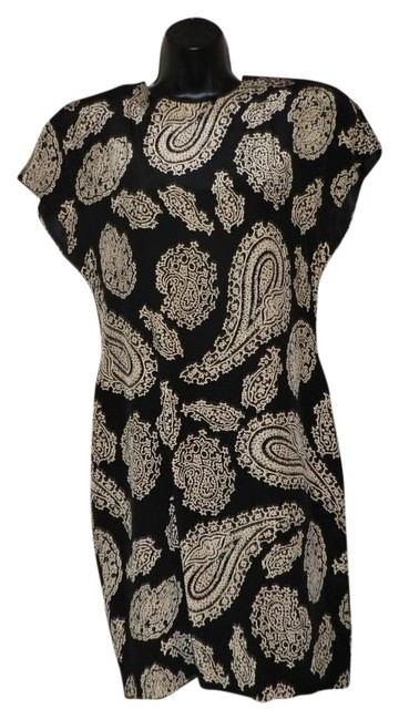 Item - Black with Tan Silk Short Night Out Dress Size 8 (M)