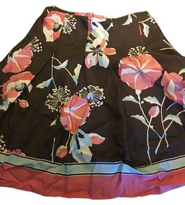 Ann Taylor LOFT Silk Blend Skirt Brown petal pink print