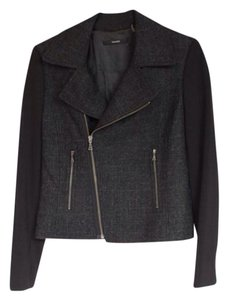 Tahari Black And Plaid Wool Moto Motorcycle Jacket