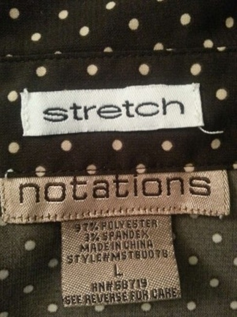 Notations Button Down Shirt Brown with white polka dots