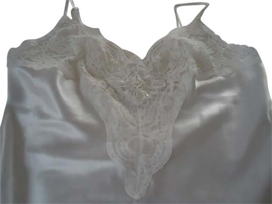 Frederick's of Hollywood White Satin Bead & Sequin Lace Chemise ~ Sz Large
