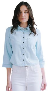 Shop the Trends Button Up Boxy Fit Button Down Shirt Chambray