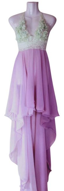 Lisa Nieves Chiffon Stretchy Lace Sheer Spring Summer Evening Prom Party Hi Lo Ombre Full Length Dress