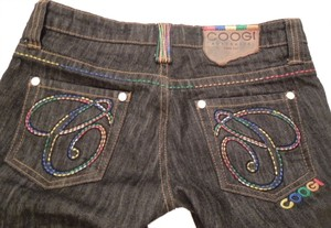Coogi Designer Womens Embellished Embroidered Size 5-6 Unique Urban Hip Hop Free Ship Paypal Tradesy Straight Leg Jeans-Dark Rinse