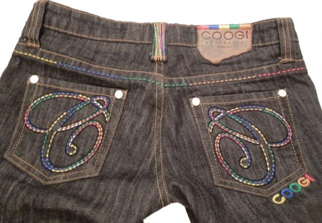 Coogi Designer Womens Embellished Embroidered Bright Colors Size 5-6 Unique Urban Hip Hop Free Ship Paypal Tradesy Straight Leg Jeans-Dark Rinse