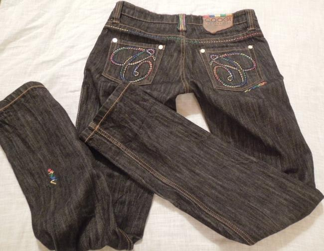 Coogi Designer Womens Embellished Embroidered Colors Size 5-6 Unique Urban Hip Hop Free Ship Paypal Tradesy Straight Leg Jeans-Dark Rinse