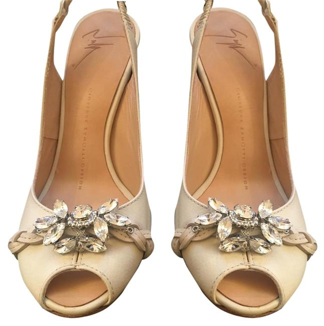 Item - Ivory Rhinestone Heel Wedges Size US 6 Regular (M, B)
