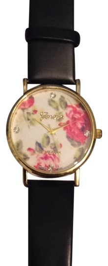 Geneva Floral Black And Gold Watch