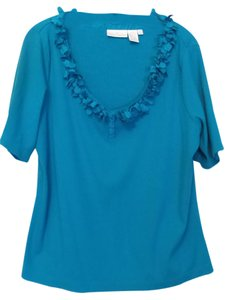 Soft Surroundings Henley Knit Rib Knit 1x Turquoise Top Turquoise blue