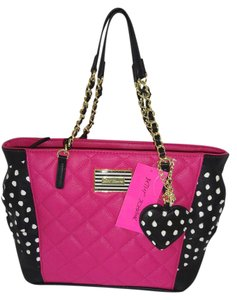 Betsey Johnson Gold Tone Hardware Tote in black/ fuchsia