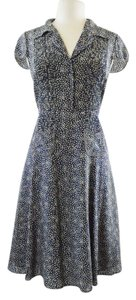 Nougat London short dress Navy Blue/Beige/Grey Small Polka Dot Flare on Tradesy
