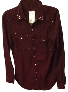 H&M Button Down Shirt Maroon