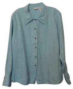 J. Jill Linen Plus Shirt Top Light blue