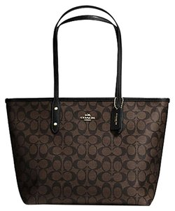 Coach Monogram Zip Top Tote in brown