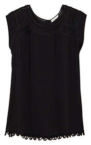 Anthropologie Meadow Rue Black Lace Trim Sleeveless Top
