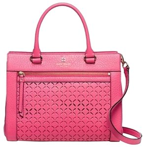 Kate Spade Pebbled Leather Leather Perforated Structured Strap Tote in Pink